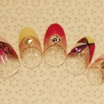 【Wフレンチ+逆フレンチ+ステンドグラスアート+ラメライン+スタッズ】 11,900円